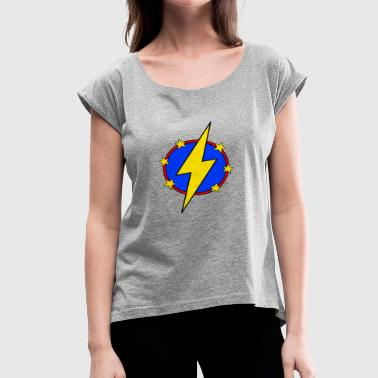 Red Lightning Bolt Little Super Hero Kids & Baby Lightning Bolt Stars - Women's Roll Cuff T-Shirt