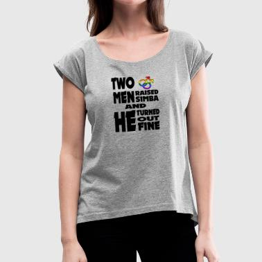 Gay Two Gay t shirts Two men and simba - Women's Roll Cuff T-Shirt