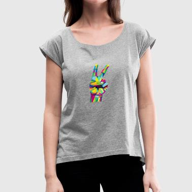 Hand Colored Colorful Victory hand sign - Women's Roll Cuff T-Shirt