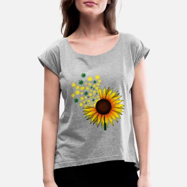 Hemp Sunflower hemp - Women's Rolled Sleeve T-Shirt
