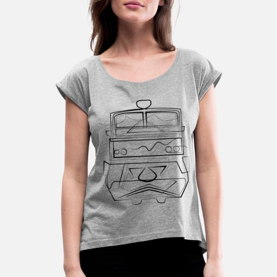 Railway train - one line drawing Women's Roll Cuff T-Shirt - heather gray