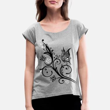 Tribal Flowers Tendril Butterfly Summer Tattoo - Women's Rolled Sleeve T-Shirt