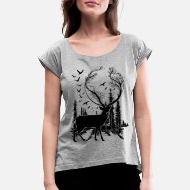 Cool Deer in Nature t-shirt for nature lovers! - Women's Rolled Sleeve T-Shirt