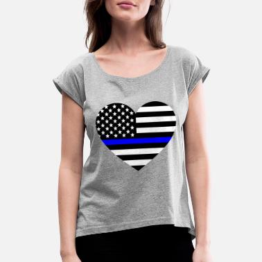 8429656e Thin blue line Heart Police Support - Women's Rolled Sleeve T-. Women's  Rolled Sleeve T-Shirt