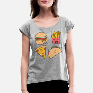 Food fast food friends - Women's Rolled Sleeve T-Shirt