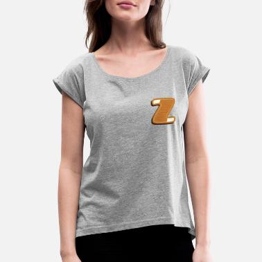 Alphabet First Name First Letter of the Name Z - Women's Roll Cuff T-Shirt