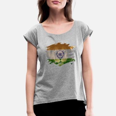 Africans Events India Flag & African Lion Picture - Women's Roll Cuff T-Shirt