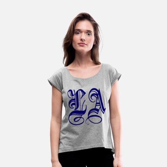 Los Angeles T-Shirts - Los Angeles - Women's Rolled Sleeve T-Shirt heather gray
