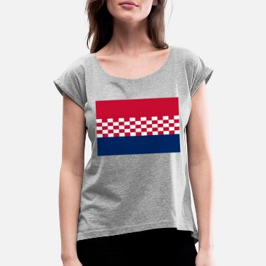 Usta flag croatia design - Women's Roll Cuff T-Shirt