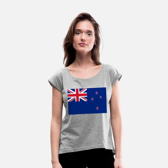 Country T-Shirts - new zealand - Women's Rolled Sleeve T-Shirt heather gray