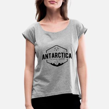 Continents Antarctica Badge Frozen Continent - Women's Rolled Sleeve T-Shirt