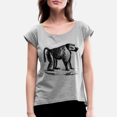 Chimpanzee Monkey Chimpanzee Monkey Art - Women's Roll Cuff T-Shirt