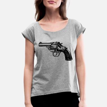 Revolver Simple Revolver Pistol - Women's Rolled Sleeve T-Shirt