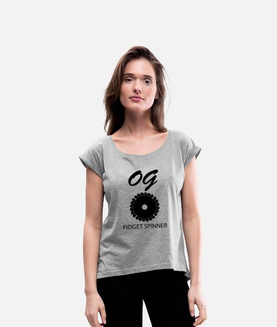 Fidget Spinner T-Shirts - OG Fidget Spinner - Women's Rolled Sleeve T-Shirt heather gray