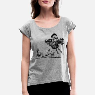 Norman Thelwell Thelwell Horseman Taming Wild Horse - Women's Rolled Sleeve T-Shirt