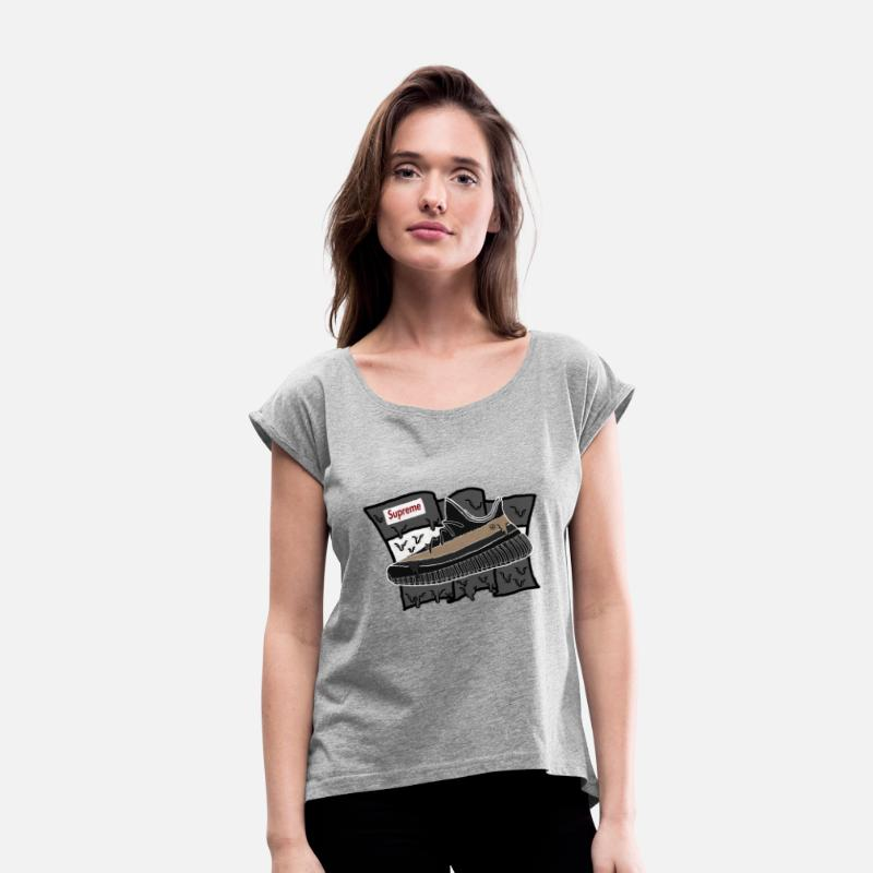2a26c265c6ab Supreme T-Shirts - Yeezy Supreme - Women s Rolled Sleeve T-Shirt heather  gray