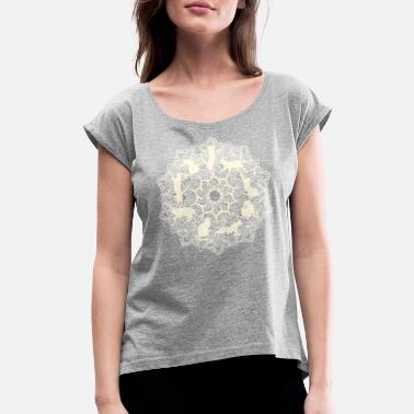 Nine Lives Mandala Cat Nine Lives Yellow - Women's Roll Cuff T-Shirt