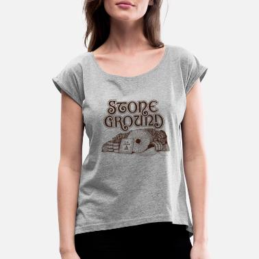 Grounded Stone Ground - Women's Roll Cuff T-Shirt