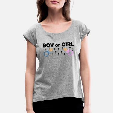 Boy Or Girl BOY or GIRL? Pacifier - Women's Rolled Sleeve T-Shirt