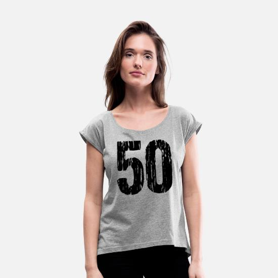50s T-Shirts - 50 - Women's Rolled Sleeve T-Shirt heather gray