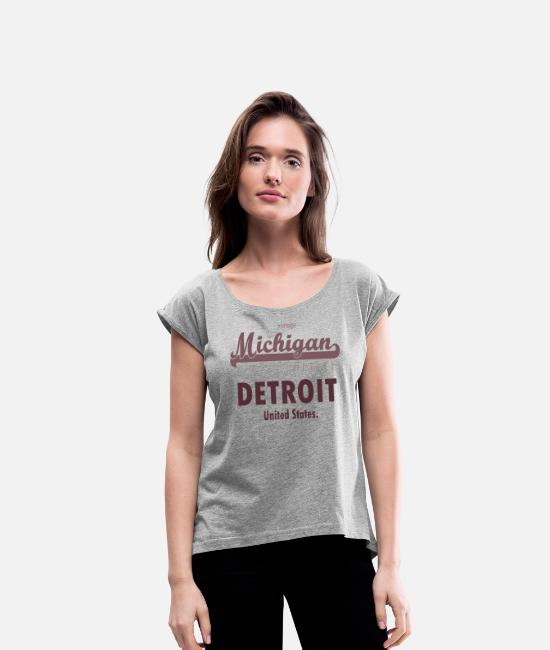 Detroit T-Shirts - detroit michigan - Women's Rolled Sleeve T-Shirt heather gray