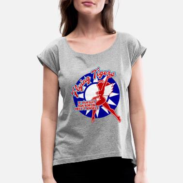Flying Tiger AVG Flying Tigers - 3rd Pursuit 'Hell's Angels' - Women's Roll Cuff T-Shirt