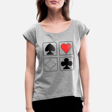 Playing playing cards - Women's Rolled Sleeve T-Shirt