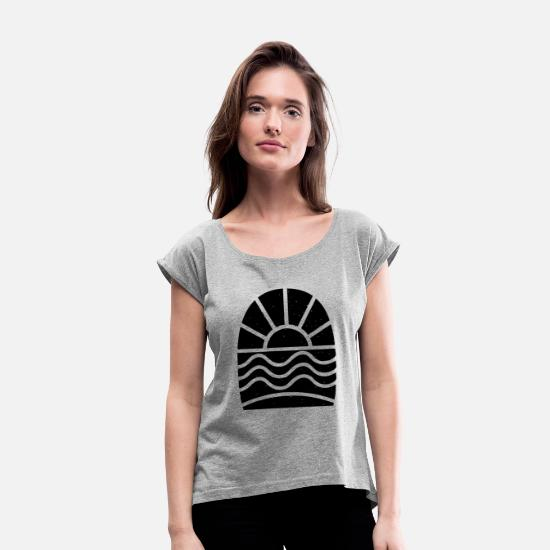 Surfing T-Shirts - New Design Lets Go Surfing Best Seller - Women's Rolled Sleeve T-Shirt heather gray