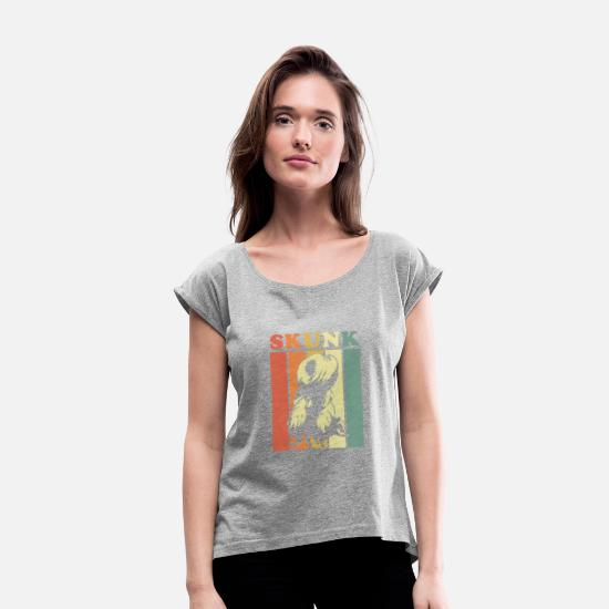 Skunk T-Shirts - Skunk - Women's Rolled Sleeve T-Shirt heather gray