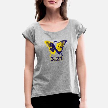 Down Syndrome Ribbon Down Syndrome Butterfly Ribbon 3.21 - Women's Roll Cuff T-Shirt