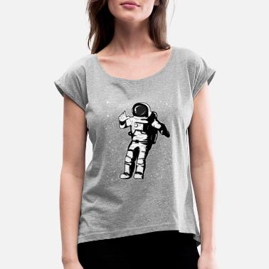 80s Sayings Geek Cool astronaut - Women's Rolled Sleeve T-Shirt