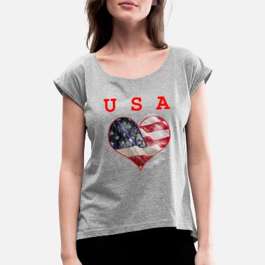 4th of July U.S.A T-shirt Gift Everyone love U.S.A - Women's Rolled Sleeve T-Shirt