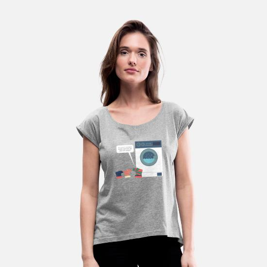 Funny T-Shirts - Socks washing machine funny gift shirt - Women's Rolled Sleeve T-Shirt heather gray