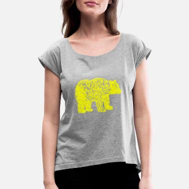 Yellow Bear GIFT - BEAR YELLOW - Women's Roll Cuff T-Shirt