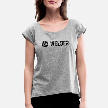 Plain Black Welder plain black - Women's Roll Cuff T-Shirt