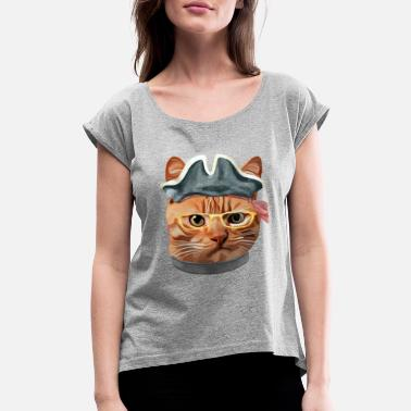 Dj Cat Cat Kitty Kitten In Clothes Yellow Glasses PIRATE HAT - Women's Roll Cuff T-Shirt