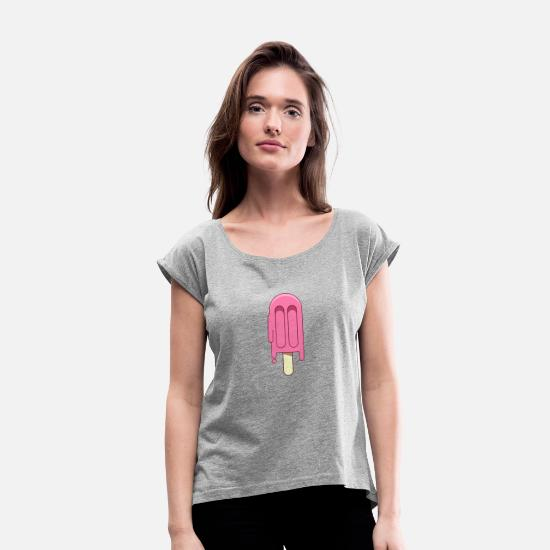 Gift Idea T-Shirts - ICE - Women's Rolled Sleeve T-Shirt heather gray