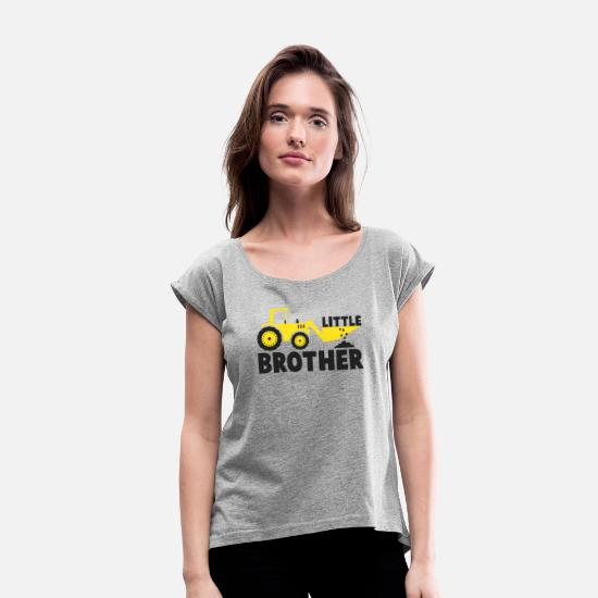 New T-Shirts - Little Brother Tractor Loving - Women's Rolled Sleeve T-Shirt heather gray