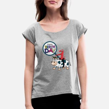 happy birthday greeting card - Women's Rolled Sleeve T-Shirt