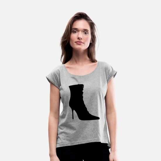 Woman Power T-Shirts - Vector highheels Silhouette - Women's Rolled Sleeve T-Shirt heather gray
