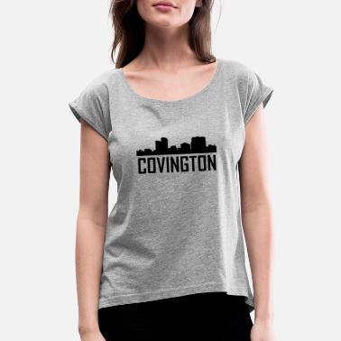 Covington Covington Kentucky City Skyline - Women's Roll Cuff T-Shirt