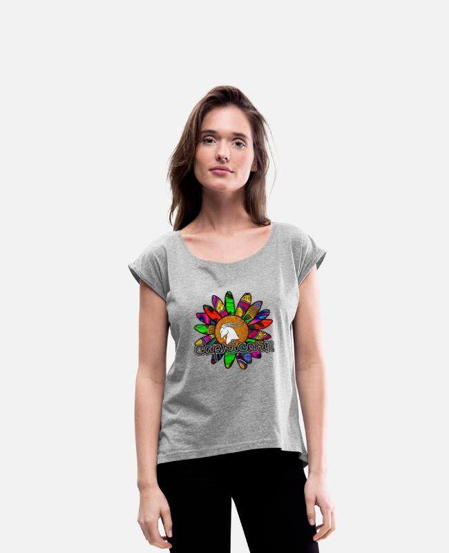 Capricorn T-Shirts - Capricorn Vibrant Retro Flower - Women's Rolled Sleeve T-Shirt heather gray