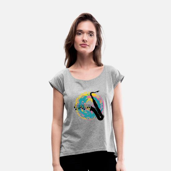 Swing T-Shirts - saxophon on a splotch - Women's Rolled Sleeve T-Shirt heather gray