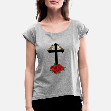 Gruftie cross with roses dark grufti gothic - Women's Rolled Sleeve T-Shirt
