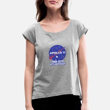 Th Of July Astronaut Moon Landing 50th - Women's Rolled Sleeve T-Shirt