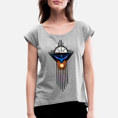 Art Deco Wings Of Lightning Deco Flow Samsung Galaxy S7 Rub - Women's Rolled Sleeve T-Shirt