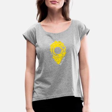 Section 9 Section 9 Logo Drawing Attractive Painting Yellow - Women's Roll Cuff T-Shirt
