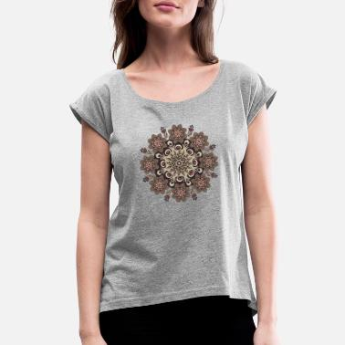 Plant Structure Flower clothing/Mandala Pattern/Flower Accessories - Women's Roll Cuff T-Shirt