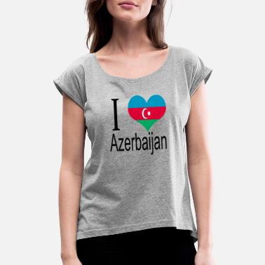 I Love Azerbaijan I Love Azerbaijan Heart Country europe gift flag - Women's Roll Cuff T-Shirt