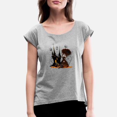 Haunted The Haunted House on the corner - Women's Rolled Sleeve T-Shirt